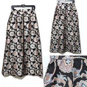 {VINTAGE} Formal Metallic Floral Full Maxi Skirt S